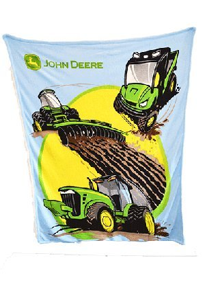 John Deere Fleece - John Deere Tractors and More Thick Sherpa and Fleece Blue Blanket