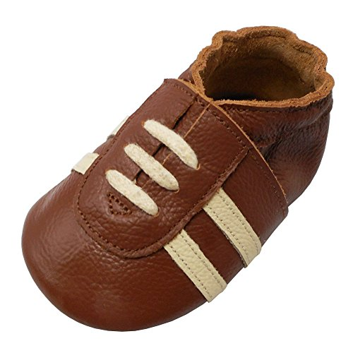 YIHAKIDS Baby Sneaker Genuine Leather Soft Suede Sole Toddler Shoes First Walker Moccasins Multi-Colors (8-8.5 US/18-24 Mo./5.9in, Brown) ()