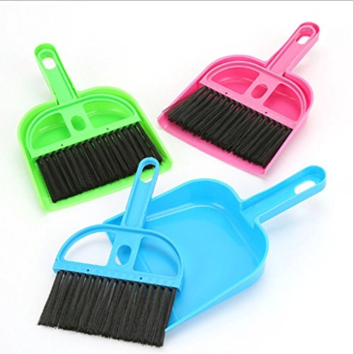 Mini Dustpan and Broom Set,Cage Cleaner for Reptile, Hedgehog, Hamsters,Degus,Chinchilla,Guinea Pig,Rabbits and Other Small Animals,Cleaning Tool Set for Animal Waste (1 Pack)