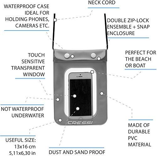 Cressi XDF300325 Funda Impermeable Universal para Teléfonos/Smartphone, Unisex, Azul x 1/Negro x 1/Verde x 1, Uni Negro x 1/Azul x 1