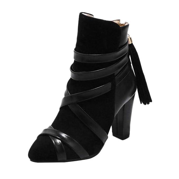 ... 2018 Mujer polp Botines con Flecos Mujer Mujer Botines con Tacon Mujer Botines Tacon Fino Botas Altas Tacon Fiesta Zapatos de señora de Vestir Tacon: ...