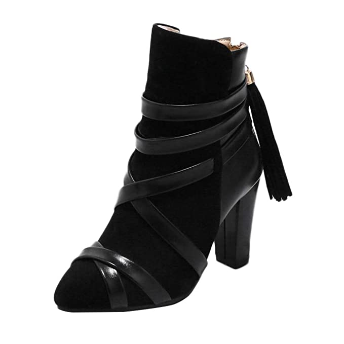 POLP Botas Mujer Invierno Zapatos Mujer otoño 2018 Mujer polp Botines con Flecos Mujer Mujer Botines con Tacon Mujer Botines Tacon Fino Botas Altas Tacon ...