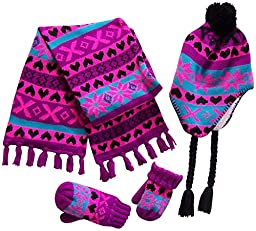 N\'Ice Caps Little Girls And Infants Sherpa Lined Snowflake Knitted Set (4-7yrs, Black/Neon Pink/Purple/Turq)