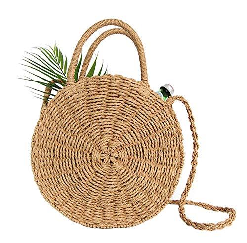 Teeya Straw Crossbody Bag Women Weave Shoulder Bag Round Summer Beach Purse and Handbags, Khaki, Medium