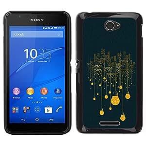 LECELL--Funda protectora / Cubierta / Piel For Sony Xperia E4 -- Luces Idea azul profundo simbolismo --