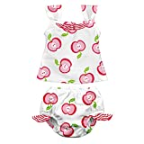 i play. Baby Girls' Tankini Set with Built-in Swim Diaper, White, 24 Months