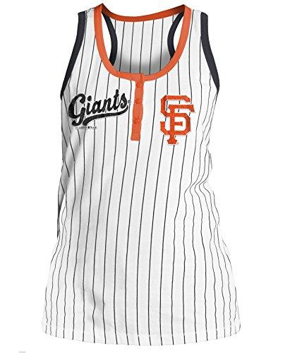 San Francisco Giants Women's Glitter Pinstripe Button Up Racerback Tank Top (San Francisco Giants Pinstripe)