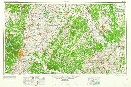 YellowMaps Austin TX topo map, 1:250000 Scale, 1 X 2 Degree, Historical, 1954, Updated 1964, 21.9 x 33.1 in - Tyvek (Academy Hog)