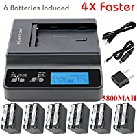 Kastar Ultra Fast Charger(4X faster) Kit and Battery (6-Pack 5800mAh) for Sony NP-F770, NP-F750, NP-F730 work with Sony DCR-TRV820, CCD-SC55, DCR-TRV820K, CCD-SC65, CCD-TRV815, DCR-TRV9, CCD-TR3, DCR-TRV900, CCD-TR3000, CCD-TRV85, DCR-VX200, CCD-TR3300, CCD-TRV86PK, DCR-VX2100, CCD-TR516, DCR-VX2100E, CCD-TR555, CCD-TRV88, DCR-VX700, CCD-TR67, CCD-TRV90, DSC-D700, CCD-TR716, CCD-TRV91, DSR-PD170, CCD-TR76, CCD-TRV93, HDR-FX1, CCD-TR818, CCD-TRV95, HVR-Z1U, HXR-MC2000U, NEX-FS700U, GV-D700