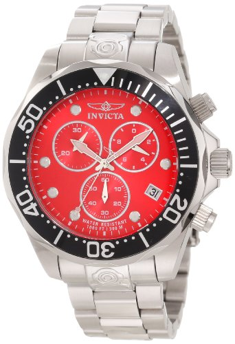 Invicta Men's 11486 Pro Diver Chronograph Red Dial Stainless Steel Watch