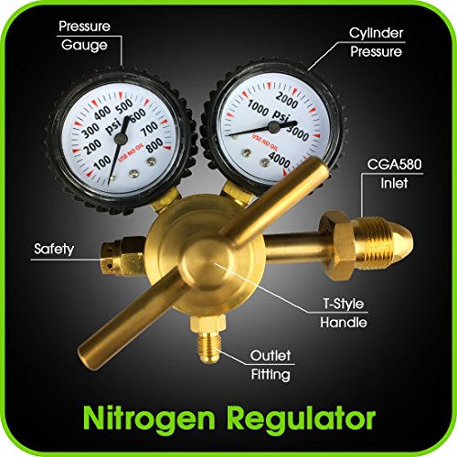 MANATEE Nitrogen Regulator with 0-800 PSI Delivery Pressure, CGA580 Inlet Connection and 1/4-Inch Male Flare Outlet Connection Durable Brass Accurate and Dependable - HVAC Purging Solid Brass ()
