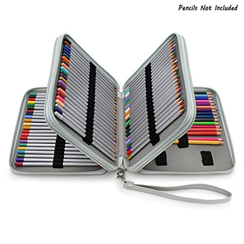 BTSKYDeluxe PU Leather Pencil Case For Colored Pencils - 120 Slot Pencil Holder with Handle Strap Handy Colored Pencil Box Large(Grey) -