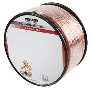 Konig 2 x 4 mm 25 m cobre libre de oxígeno Cable de altavoz