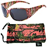 Hornz Pink Camouflage Polarized Sunglasses Country Girl Style Rhinestone Accents & Free Matching Microfiber Pouch - Pink Camo Frame - Smoke Lens