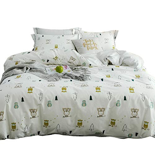 LAYENJOY Cotton Owl Forest Duvet Cover Queen 3 Pieces White Kids Bedding Sets Full for Teens Boys Girls 1 Duvet Cover and 2 Pillow Shams, No Comforter