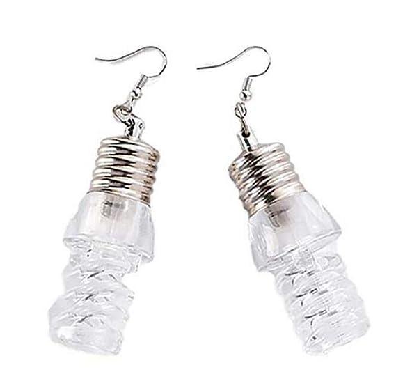 b4d1fe6e77434 CHASIROMA Bulb Earrings Women Light Up Earring LED Blinking Bulb Ear Hook  Dangle Jewelry