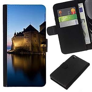 KLONGSHOP // Tirón de la caja Cartera de cuero con ranuras para tarjetas - Sunset Beautiful Nature 44 - HTC DESIRE 816 //
