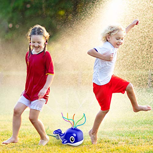 Kiztoys Water Sprinkler for Kids, Blue Whale Spray Water Toy with 6 Wiggle Tubes for Toddlers at Backyard & Garden Kids Sprinkler Toy in Summer