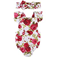 Maymeimei Newborn Kids Baby Girls Clothes Floral Jumpsuit Romper Playsuit + Headband Outfits