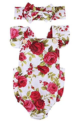 Newborn Kids Baby Girls Clothes Floral Jumpsuit Romper Playsuit + Headband Outfits (0-6 Months, Baby girl (0 3 Months Baby Girl)