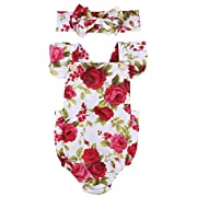 Newborn Kids Baby Girls Clothes Floral Jumpsuit Romper Playsuit + Headband Outfits (0-6 Months, Baby girl dress)
