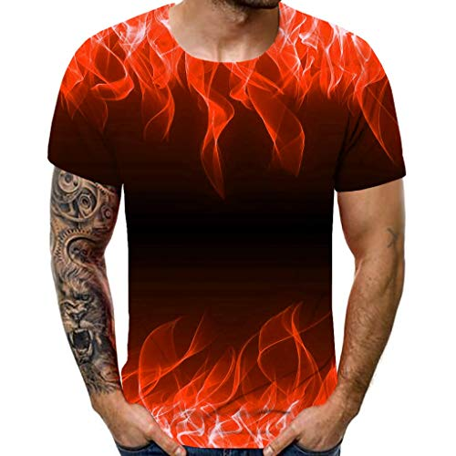 LEKODE Men T-Shirt Summer Colored Short Sleeve Tee Personality Blouse(Red,S)