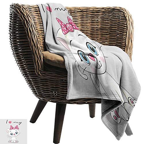 Sillgt Soft Warm Coral Fleece Blanket Kitten Cute Cartoon Domestic White Cat Pink Cheeks Fluffy I Love My Pet Themed Print Bedding Throw, or Blanket Sheet 91