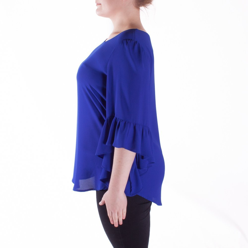 Joseph Ribkoff Sapphire Blue Long Hem Blouse Top Style 173262 - Size 10
