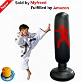 Myfreed Fitness Punching Bag Free Standing Water Base Pump Inflatable Punching Bag Children Sandbags Boxing Target Bag for Kids and Adults (1Black) (Color: 1Black)