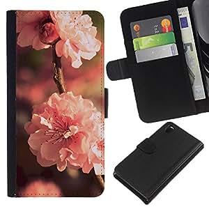 KLONGSHOP // Tirón de la caja Cartera de cuero con ranuras para tarjetas - Flor Rosa - Sony Xperia Z3 D6603 //