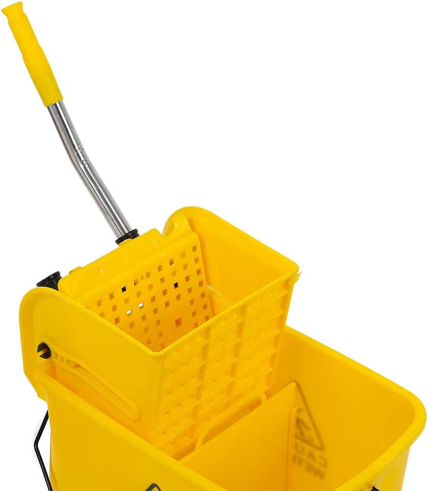 5.28 Gallon Side Press Mop Bucket Ideal for Public Places Floor Yellow, US Stock Household Portable Mop Bucket with Wringer and Wheels Commercial Mop Buckets