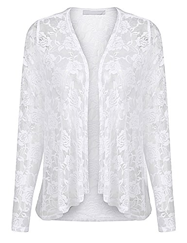 Zeagoo Women's Sexy Sheer Lace Long Sleeve Crochet Open Cropped Cardigan Tops Pure White XXL -