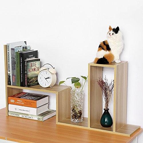 Desktop Purpose Wood Multi Organizer (Estink Desktop Storage Rack, DIY Particle Board Table Desktop Storage Rack Display Shelf Organizer Counter Top Bookcase Office Supply Holder,Wood Color)