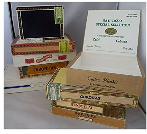 Wooden Empty Cigar Boxes Pack of 10 Empty (Box Wooden Large Cigar)