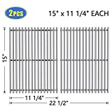 X Home 7521 Grill Grates 15'' Replacement for Weber Spirit 200 E/S-210 E/S-200(Side-Mounted Control Panel), Genesis Silver A, Spirit 500, Stainless Steel 7522 Cooking Grid 15 inch(2 PCS, 15'' x 11 1/4'')