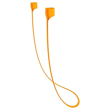 Apple Orange AirPods Correa, Baseus Fluorescencia Flexible Cuerda de Silicona Wireless Nunca Pierda su AirPods Sport Cable Cable Conector para iPhone 7 ...
