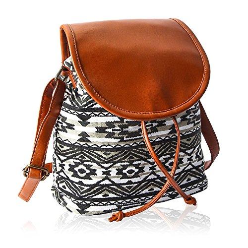 Kleio Lightweight Women Cotton Canvas Crossbody Shoulder Messenger Bag Purse Teen Ladies With Drawstring Tan