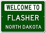 """Welcome to FLASHER, NORTH DAKOTA - City State Custom Rectangular Aluminum Sign - Green - 12""""x18"""""""