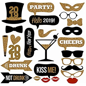 25pcs 2019 new years eve party card masks photo booth props supplies decorations by 7 gost