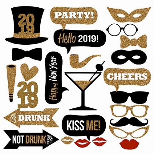 25PCS 2019 New Year's Eve Party Card Masks Photo Booth Props Supplies Decorations by 7-gost]()