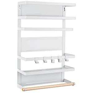 Sunix Kitchen Rack Fridge Magnetic Organizer, 12.2x4.4x18.1in New Design Paper Towel Holder, Rustproof Spice Jars Rack, Multi Use Refrigerator Side Shelf Including 5 Removable mobile Hooks (WHITE)