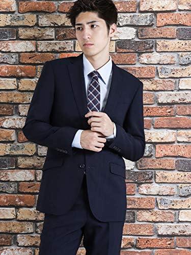2ボタン ストレッチ 洗える スラックス シャドー チェック 紺 2ピース Y体 スリムフィット 結婚式 ビジネス スーツ 110011803101823 メンズ