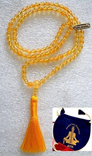 8mm Yellow Jade mala beads Necklace Reiki healing crystal gemstone Handmade tassel mala w/free velvet rosary pouch - Energized 108 Buddhist Tibetan Prayer Beads Meditation Chakra mala - US Seller -