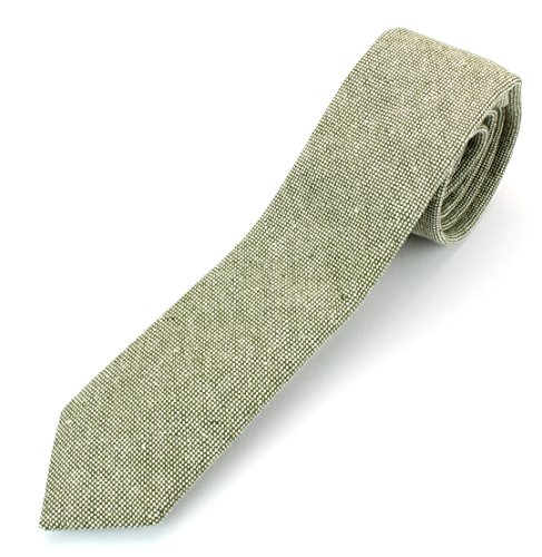 Tie Modern Dress (Men's Linen Cotton Skinny Necktie Tie Chambray Weave Washed Texture - Olive)