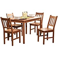 Edgeworth Dining Table Set for 4, Includes Table and 4 Chairs (Natural)