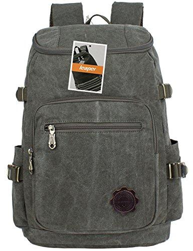 Leaper Vintage Leinwand Rucksack Daypack Ranzen Laptop Taschen Reisetasche (Armee-Grün)