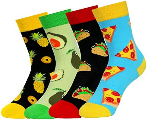4 Pack Kids Boys Novelty Socks Funny Cartoon Cute Animal Food Alien Fruit Crew Socks