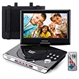 FENGJIDA 9.5'' Portable DVD Player with Headrest Mount Holder, Built-in Rechargeable Battery, 270°Swivel Screen, 5.9 ft Car Charger SD Card Slot and USB Port (Black)