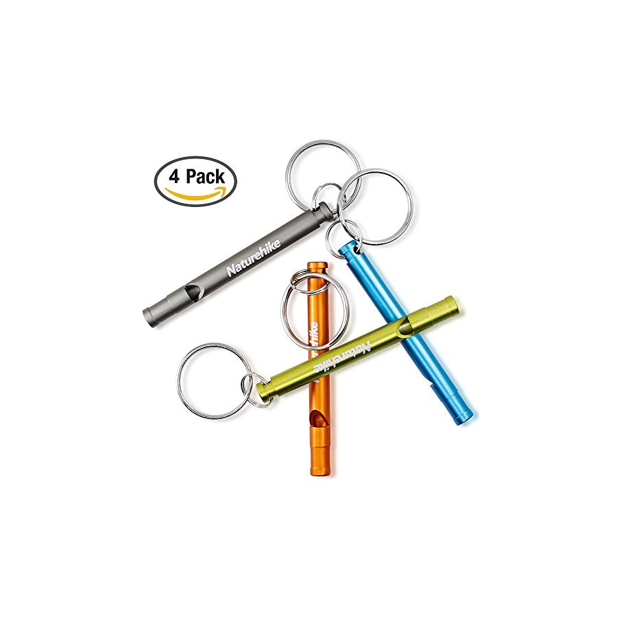 FineGood Aluminum Whistles, 4 Pack Emergency Survival Whistles with Key Ring Chain for Sport Referee Hiking Camping Climbing