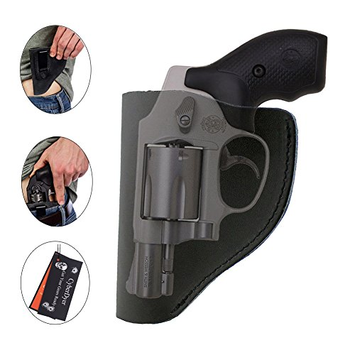 CyberDyer Ultimate IWB Holster Leather Right Hand Pistol Holster for Belts Fits Most Part J Frame 38 Special Revolver Ruger LCR Smith and Wesson Bodyguard Taurus (Black) (Laser Pistol Grips Ruger Lcr)